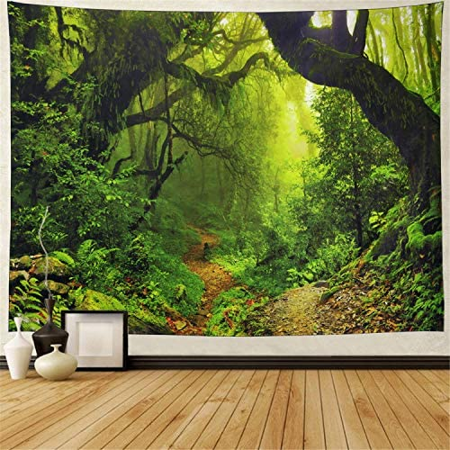 Misty Forest Tapestry Magical Nature Green Tree Wall Tapestry Rainforest Landscape Tapestry Wall Hanging Bohemian Psychedelic Tapestry for Bedroom Living Room Dorm XL-70.8 94.5 , Forest
