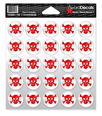 Award Decals Skull and Crossbone (Red on Clear)