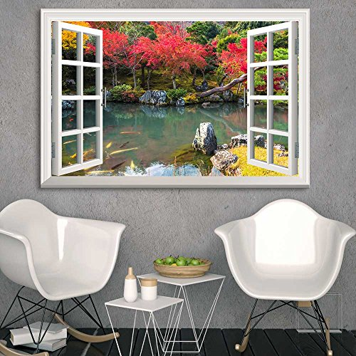 Window Peering into a Colorful Forest with a Lake