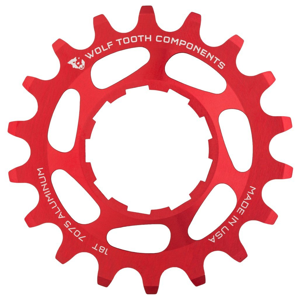Wolf Tooth CNC Machined Aluminum Singlespeed Cogs Red 16t