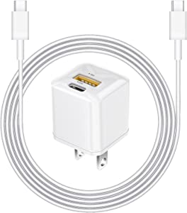 iPhone Fast Charger【Apple MFi Certified】 20W PD Type C Mini Power Wall Charger Dual Charging Ports with 6FT USB C Cable Compatible iPhone 12 Pro Max Mini/11 Pro Max/Xs Max/XR/X/8 Plus, iPad Pro
