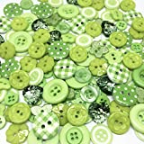 Roseys Craft Shops Collection of 150 Random Mixed Buttons GREEN Theme by Roseys Craft Shop