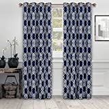 Superior Ribbon Collection Quality Soft, Insulated, Thermal, Woven Blackout Grommet Printed Curtain Panel Pair (Set Of 2) 52″ x 108″ – Navy Blue Review