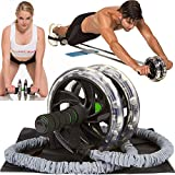 ABWOW Ab Roller Pro Ab Wheel with Bonuses, Perfect Abdominal Core Carver Fitness Workout for Abs, Supports 500 Lbs