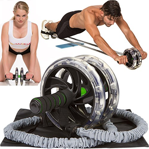 ABWOW Ab Roller Pro Wheel with Bonuses for Abdominal Workout and Flat Stomach, Supports 500 Lbs