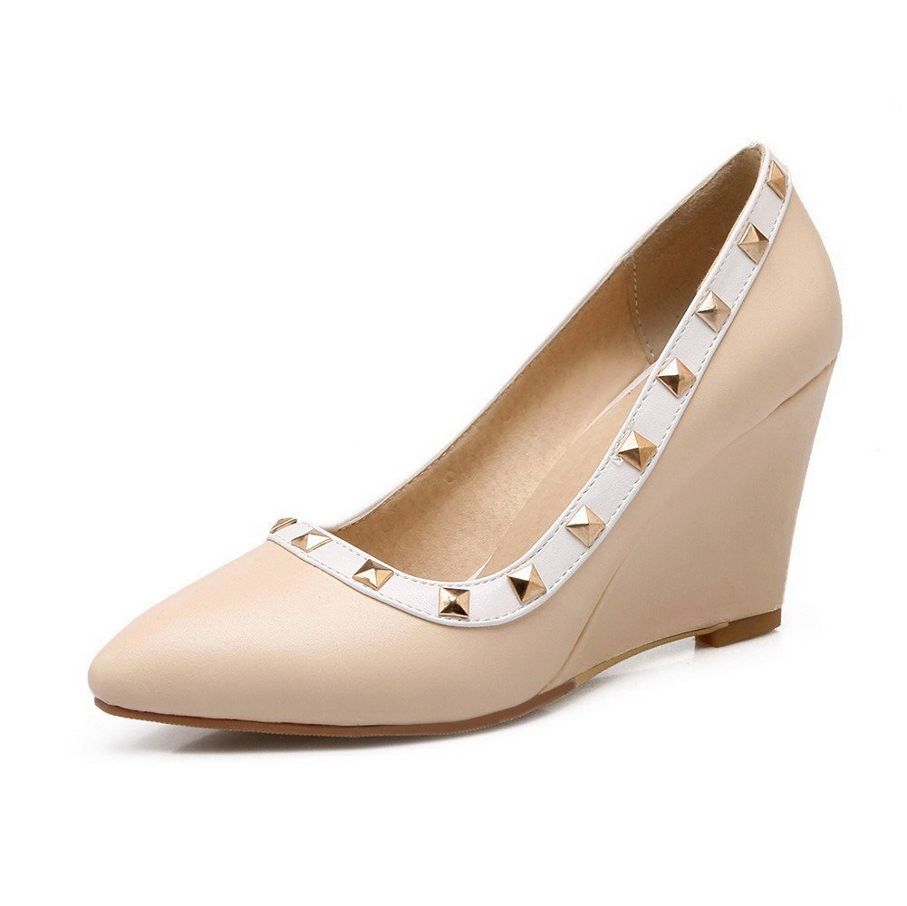 WeenFashion Women's Pointed Closed Toe High-Heels Soft Material Pull-on Pumps-Shoes, Apricot, 38