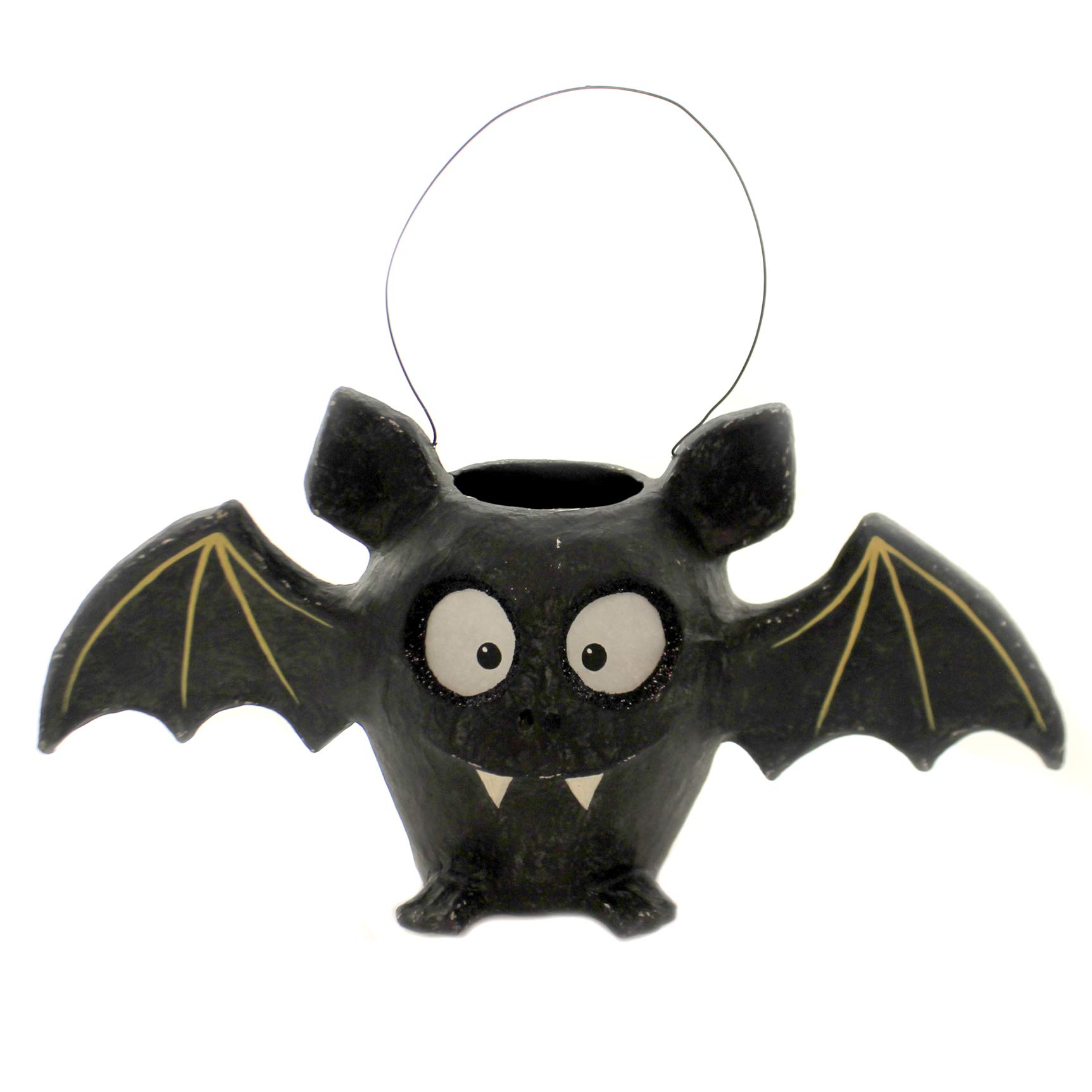 Halloween BAT Bucket Paper Mache Fangs Primitive Wings Tj8657