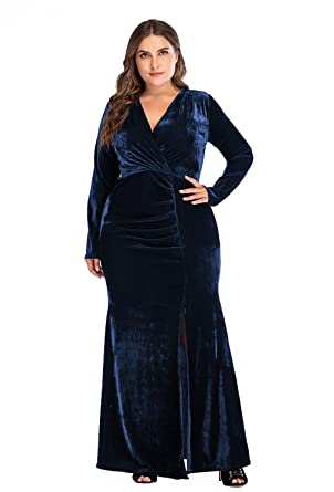 b7d591e7361 ESPRLIA Women s Empire Waist Plus Size Midi Casual Cocktail Dresses with  Belt (Blue