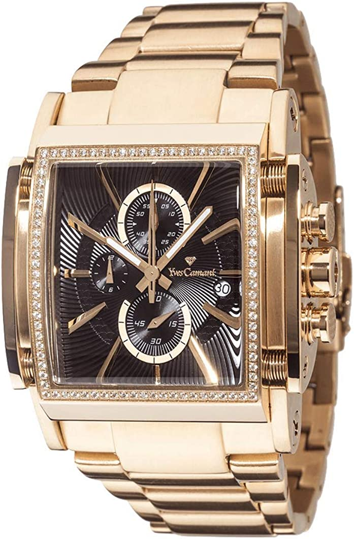 Yves Camani Escaut Men s Quartz Watch Stainless Steel Gold Chronograph YC1060-F Gold Plated Strap