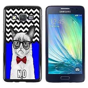 - Chevron Grumpy Cat - - Monedero pared Design Premium cuero del tir¨®n magn¨¦tico delgado del caso de la cubierta pata de ca FOR Samsung Galaxy A3 a3000 Funny House