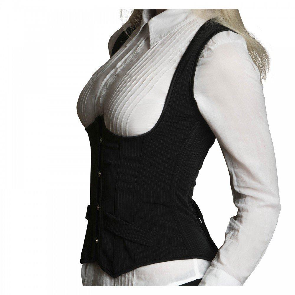 ANGELYK corsets habillés - Corsetto Vestito AUDACE Cincher Straps Black Whales Steel Spirti Bustier - IT 40/42 (M)