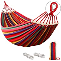 Mosfiata 550lb Double Camping Hammock with Two Anti Roll Balance Beam and Sturdy Metal Knot Tree Straps
