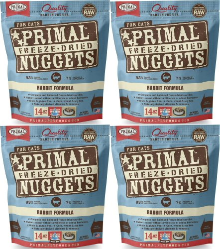 Primal Freeze-Dried Nuggets Rabbit Formula for Cats 56oz (4 x 14oz) by Primal