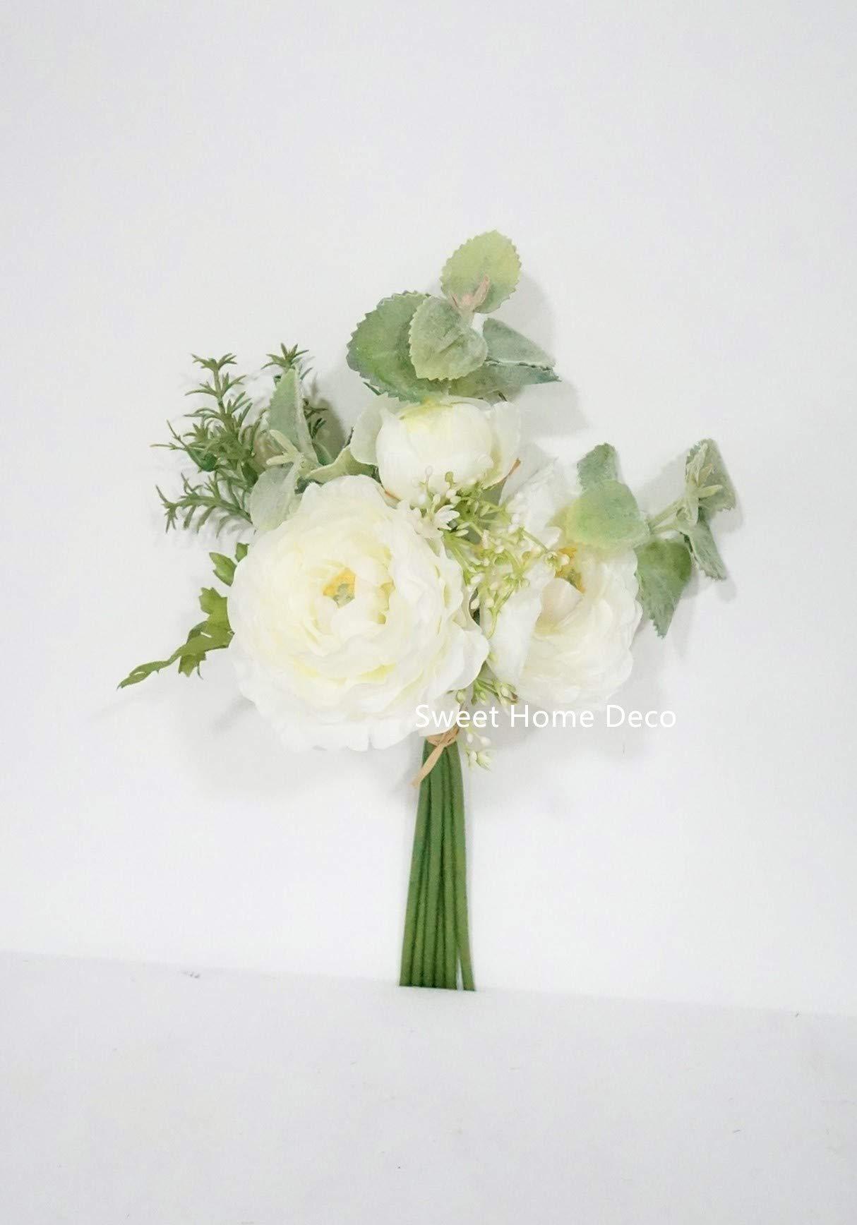 silk flower arrangements sweet home deco 12'' spring silk ranunculus flower bouquet w/greenery for wedding/home decorations, floral design, rustic bouquet (white)