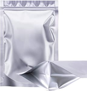 100 Pieces Aluminum Foil Zip Lock Mylar Bags Stand Up Bags Resealable Smell Proof Food Storage Pouch for Daily Life or Party Supplies (7 x 10 Inches)