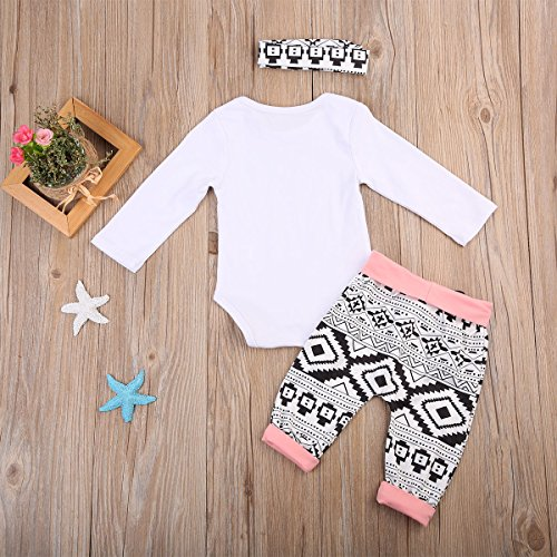 3Pcs/Set Newborn Baby Girl Boy Long Sleeve Elephant Bodysuit + Geometric Pants + Headband Outfit Clothes (0-3 Months, 2-Day Shipping)