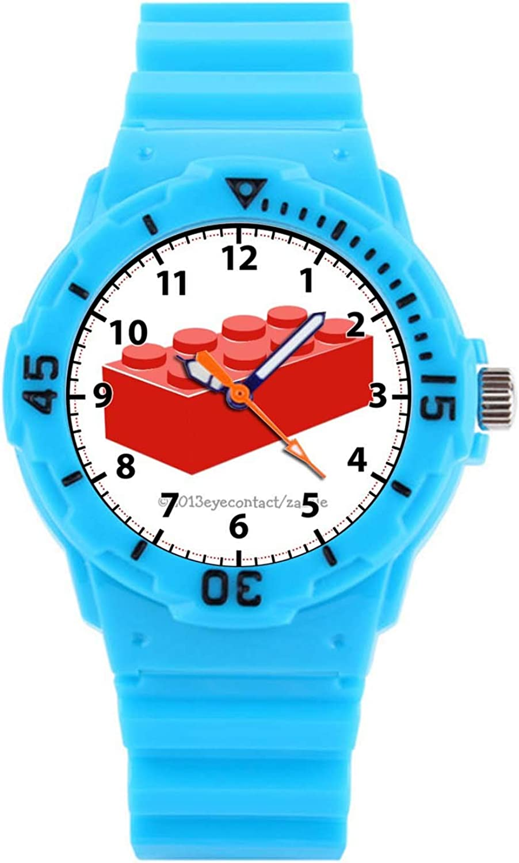 Kids Watches Childrens Analog Wrist Watch 50M Waterproof Watch with 278.Kids' Building Block Toy Watch (Pink)