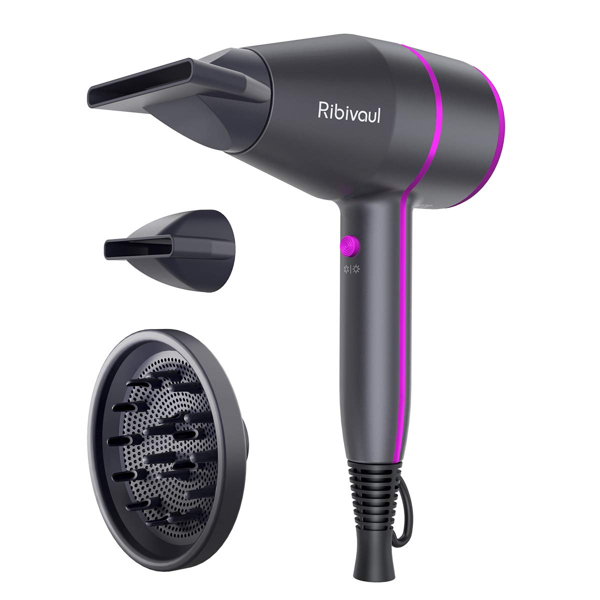 Ionic Hair Dryer Ribivaul Powerful 1875 Watt Hairdryer 2 Speed 3 Heating Salon Home Use Blow Dryer for Fast Drying Styling Negative Pro Ion Blower with Diffuser Concentrator Comb Portable Size