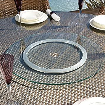 Large Garden Clear 800mm Glass Lazy Susan With Hole For Dining Table