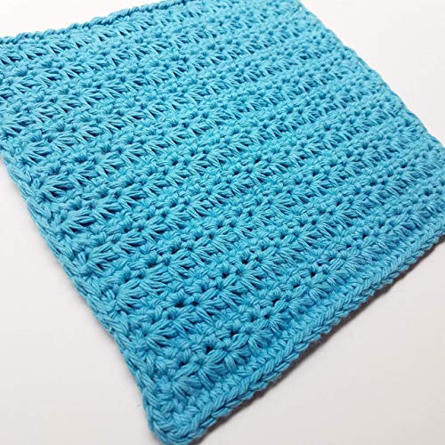 Blue 100% Cotton Crocheted Washcloths/Dishcloths - Set of 3