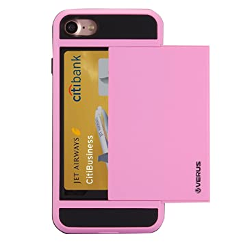 brand new 715ed b73fe iPhone 8, 7 Tough Case, Verus® - Secret Card Holder Slot, Slide Style,  Shock Resistant Protective Case Cover in Pink