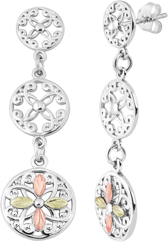 Black Hills Gold Silver Celtic Dangle Earrings