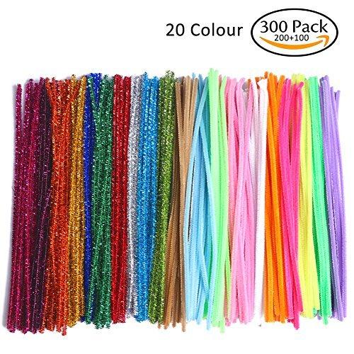 COCODE - Limpiador de tubos para manualidades, 300 unidades, 20 colores, limpiador de tuberías de chenilla para niños,...