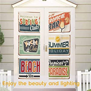 "Static Cling DIY Decorative Film, Retro Summer Holiday Vintage Camping Beach Sign Boards in Old Sty, Static Glass Film for Bathroom Office Meeting Room Living Room, 17.7"" x 35.4"""