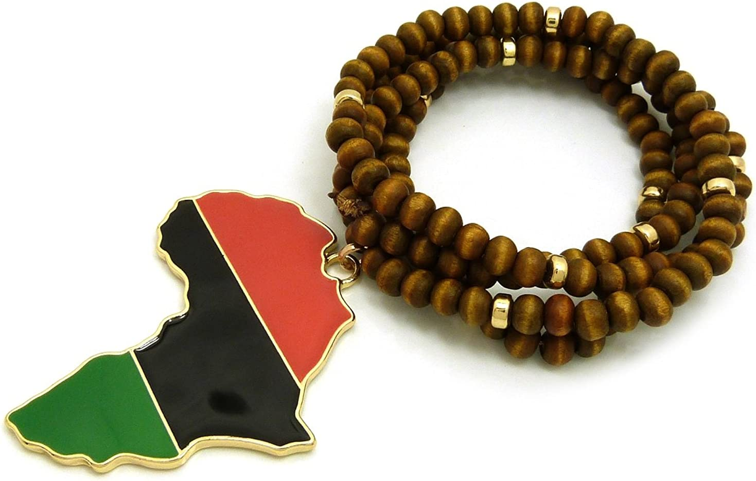 NYFASHION101 Pan Africa Continent Pendant with 6mm 30 Wooden Bead and Metal Disc Necklace