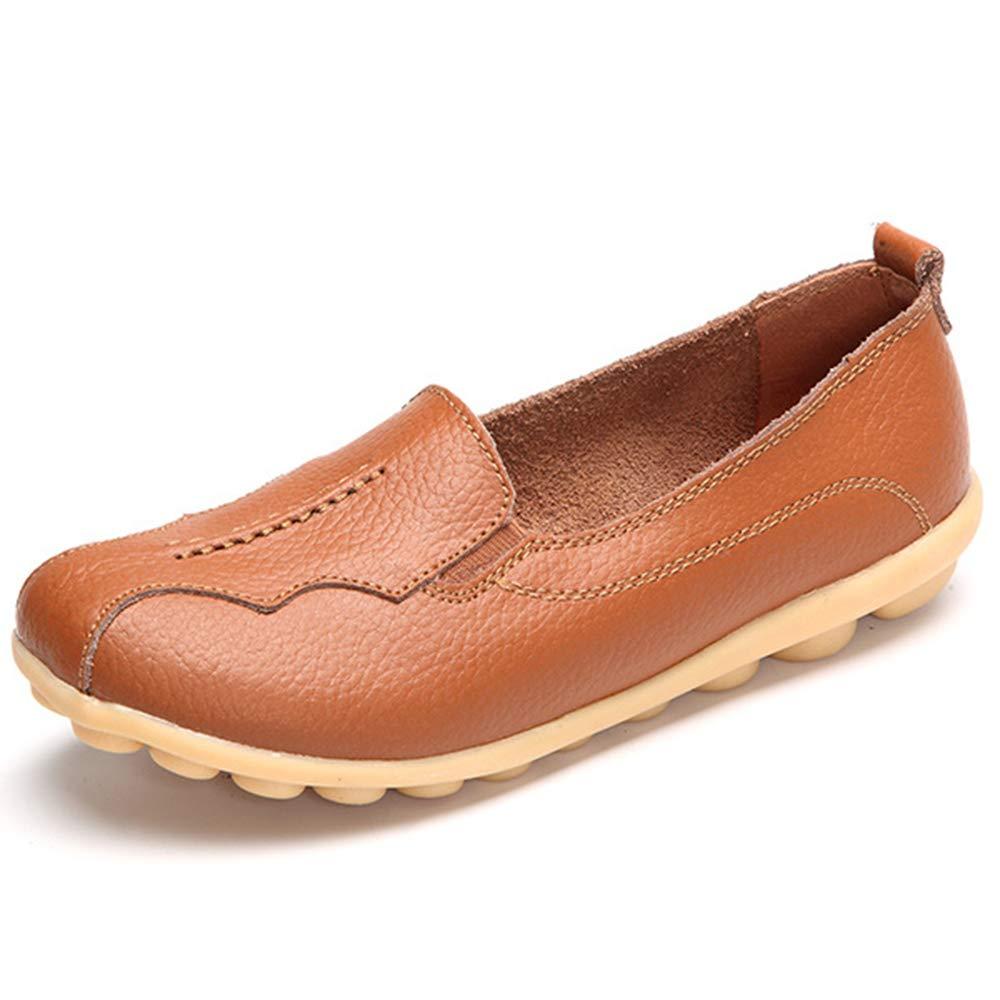 Women Flats Shoes Genuine Leather Female Casual Shoes Ladies Ballet Flower Breathable Soft Non-Slip Sole Summer Shoes