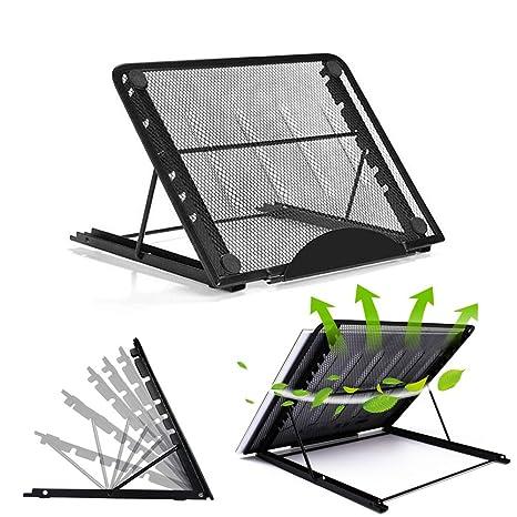Soporte de ordenador portátil, soporte de escritorio ajustable multiángulo para escritorio con base de rotación