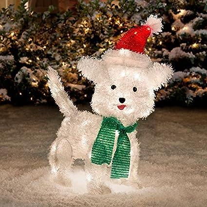 white furry dog christmas decoration 22 - Amazon White Christmas Decorations