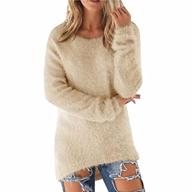 Landove Pull Long Maille Femme Hiver Casual Solide Tunique Manches Longues  Col Rond Chandail Chaud Blouse feba890abc58