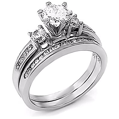 Sterling Silver 131ct Russian Ice On Fire CZ 2 Pc Wedding Ring Set Lakoda