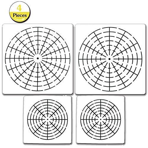 4 Pieces Mandala Dotting Stencils Mandala Dot Painting Templates Mylar Painting Stencils,8/12/16 Segment (16 Seg1+ 12 Seg1+ 8 Seg2)