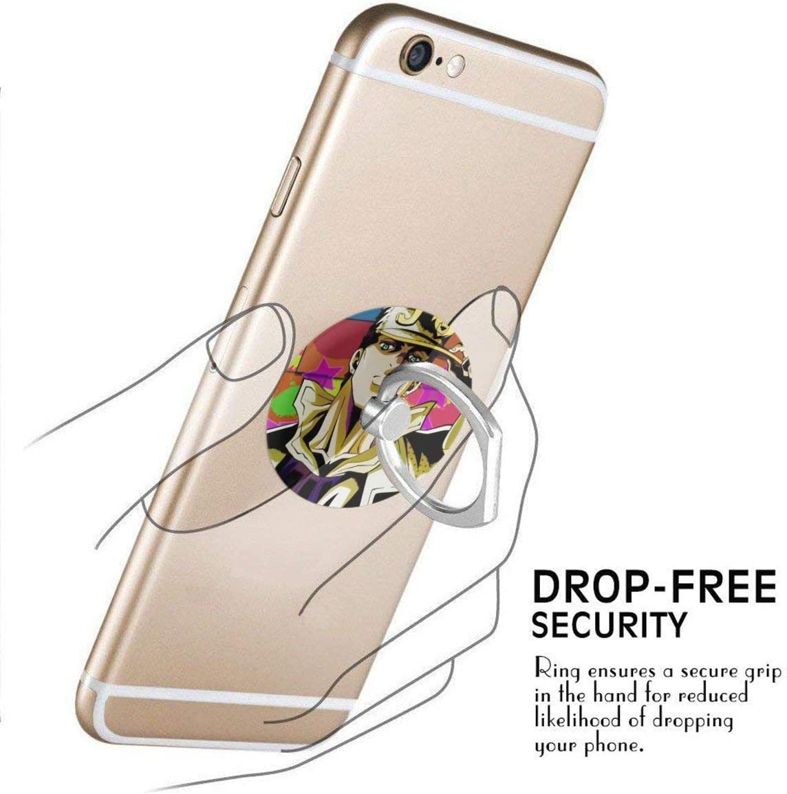 Samsung Phone and Smartphones Multi-Function 360 Degree Rotating Ring Stand Grip Mounts for iPhone HesterCoyle Jojos Bizarre Adventure Cute Phone Ring Holder
