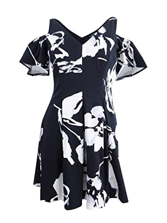 09be7e1650 LAUREN RALPH LAUREN Womens Cold Shoulder Floral Print Party Dress B W 14 at  Amazon Women s Clothing store