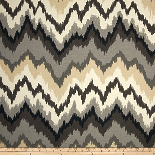 WAVERLY 0419611 Sun N Shade Borderline Ebony Outdoor Fabric by The Yard -