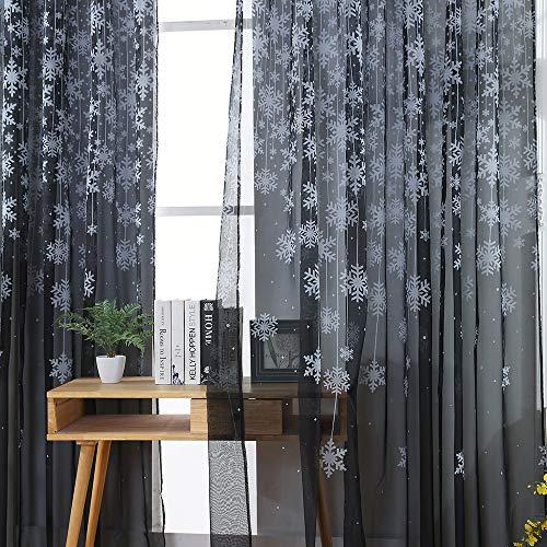 Clearance Sale!DEESEE(TM)1PCS Christmas Snowflake Curtain Tulle Window Treatment Voile Drape Valance 80x200cm (Black) (Sale Christmas Clocks)