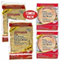 Joseph's Low Carb 4 Pack Value Variety Bundle, Flax Oat Bran Whole Wheat Lavash Bread (8 Squares) and Pita Bread (12 Loaves)