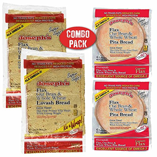 Carb Pita Bread Low - Joseph's Low Carb 4 Pack Value Variety Bundle, Flax Oat Bran Whole Wheat Lavash Bread (8 Squares) and Pita Bread (12 Loaves)