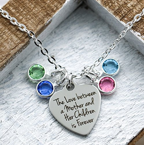 Pendant Mothers Birthstone (Mother Birthstone Necklace - Mom Gift From Kids - Birthstone Jewelry for Mother's Day - Multiple Children - Fast Shipping)
