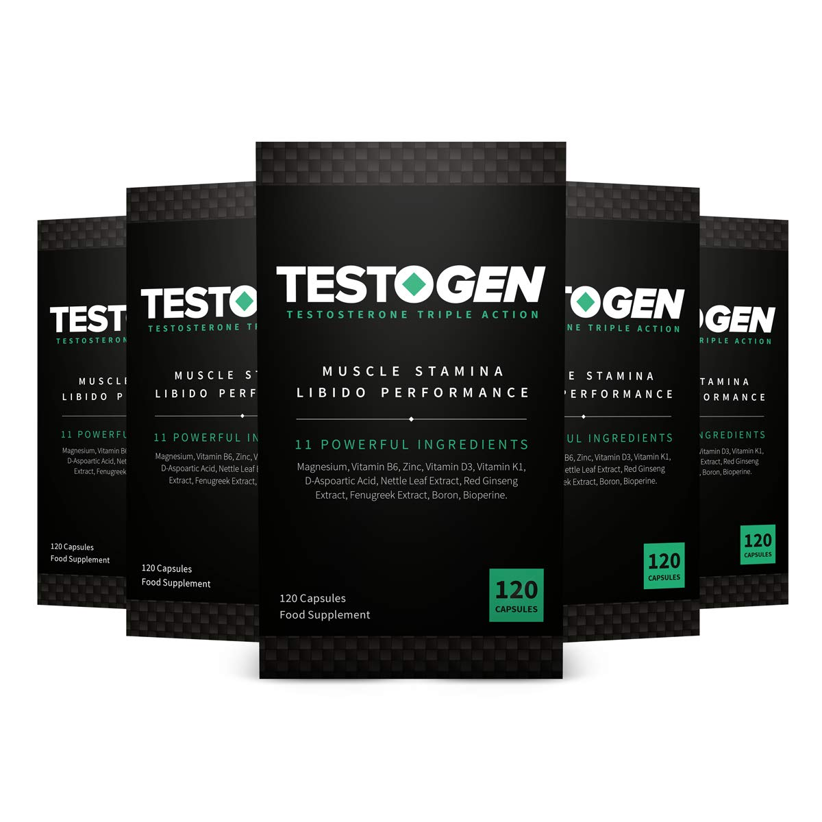 5-Pack TestoGen Triple-Action Testosterone Booster with Powerful Natural Ingredients, Helps Improve Stamina, Strength and Energy (120 Capsules)