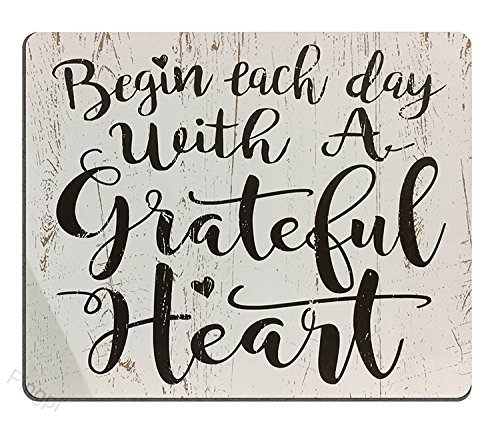 Pingpi Gaming Mouse Pad Custom, Begin each day with a grateful heart wood signs with sayings,Personalized Design Non-Slip Rubber Mousepad