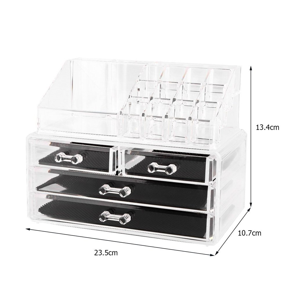Sweepid Clear Acrylic Cosmetic Organizer 4 Drawers Makeup Case Storage Holder Box Makeup Sundry Holder Display Stand Organizer