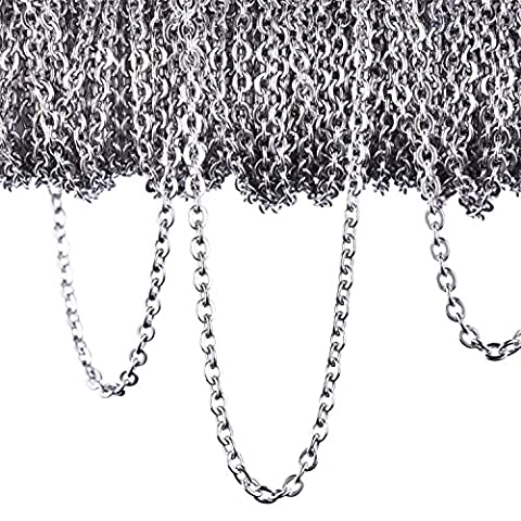 Outus 12 Meters Stainless Steel Cable Chain Link Chain Necklace for Jewellery Accessories DIY, Silver Color (2.4 - Cha Chains