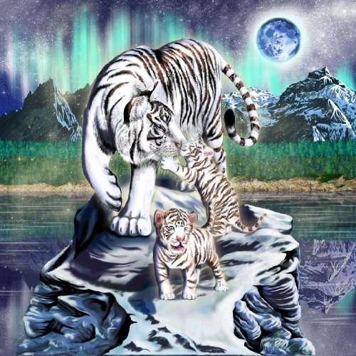 B&A Big Cat White Tiger w/ Cubs in Mountains - Vinyl Sticker (Tiger Stickers)