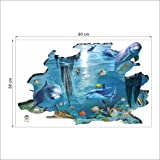 Rainbow Fox 3D sea shark and fish swing in blue ocean Removable 3D Wall decals art For Nursery decoration