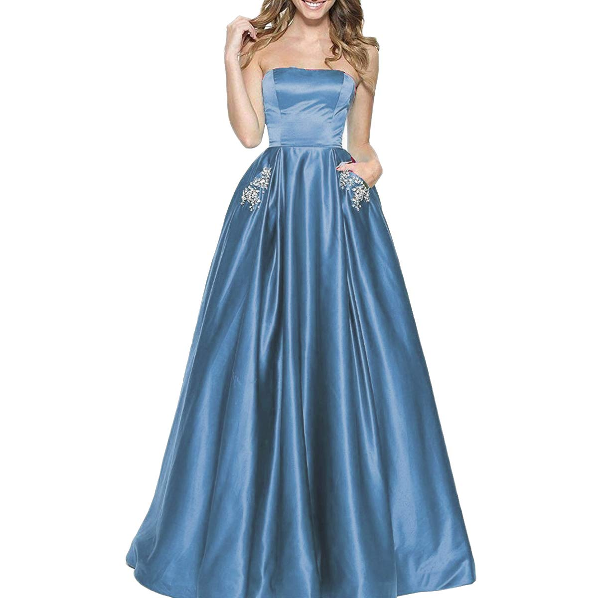 Ink bluee TTYbridal Women's ALine Strapless Beaded Prom Dresses Long Satin Homecoming Party Gown with Pockets