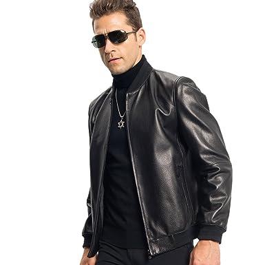50fddbbc7623 LINAILIN Genuine Leather Jacket Men Short Style Sheepskin Baseball Jacket  Men Casual Coat at Amazon Men s Clothing store
